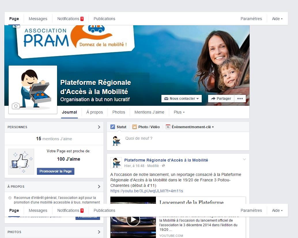 Page d'accueil du compte facebook de la PRAM