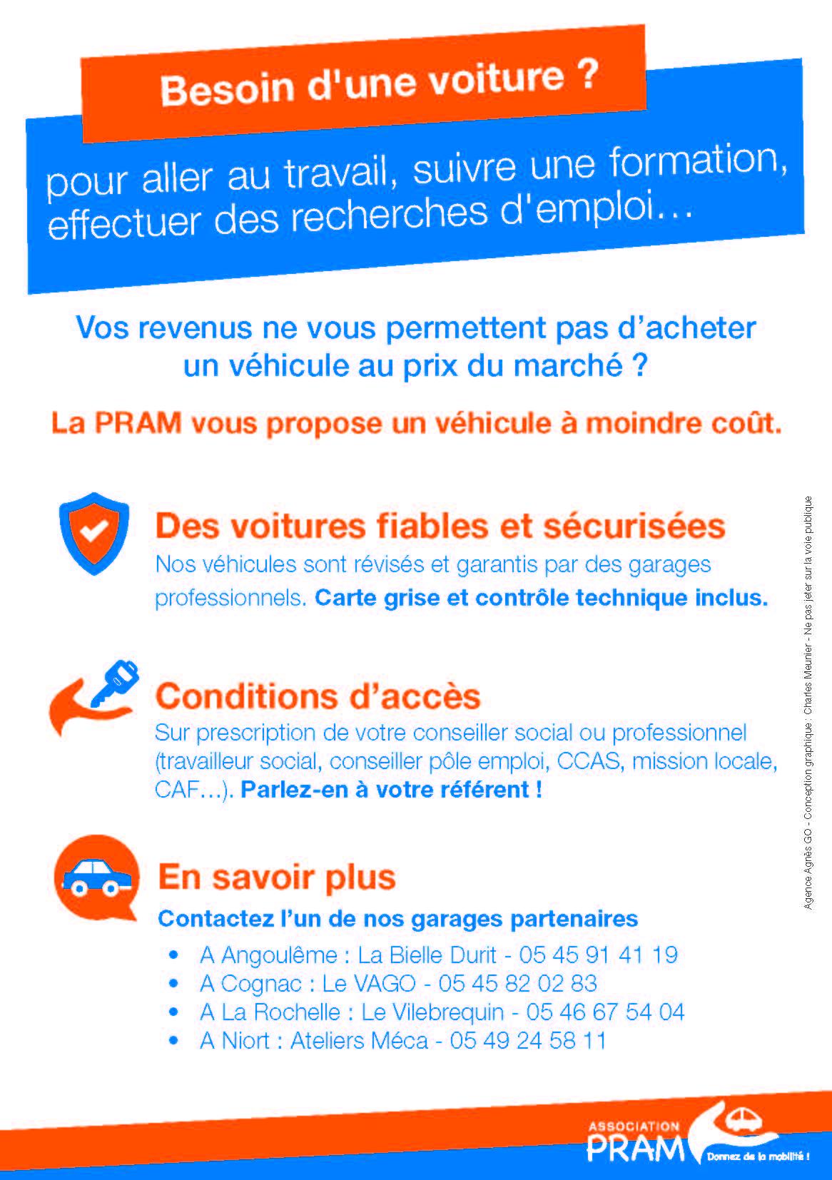 fleyr de la PRAM présentant les conditions d'accès aux véhicules d'occasion